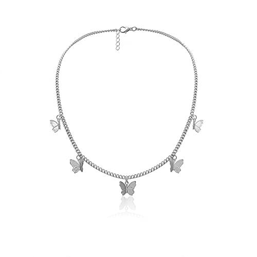 Collar Colgante Conjunto de pendientes de collar de mariposa collar de cadena de mariposa ajustable pendientes de aro con dijes joyería de mariposa para mujeres y niñas Collar amistad Regalo