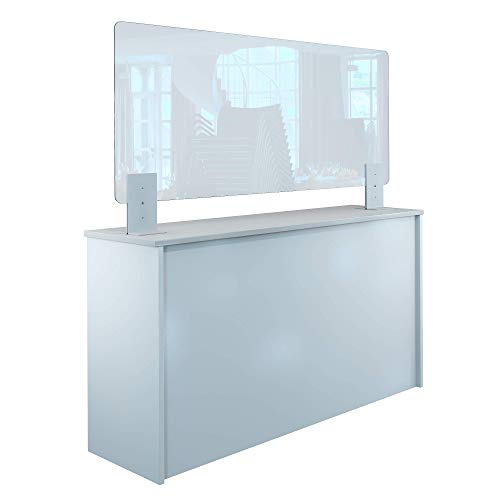 Rulopak Thekenaufsteller Trennwand/Spuckschutz Acrylglas klar mit Metallfüßen Weiß (Höhe justierbar) (B 150 x H 60 cm)