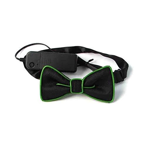 Dastrues Mode LED EL Draht Krawatte Hell Neon Blinkend Fliege für Männer Club Cosplay Abend Party Dekoration (Dark Green)