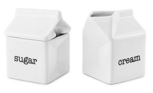 Darware Sugar and Creamer Set, Milk Carton Shaped White Ceramic Cream Jug and Sugar Bowl