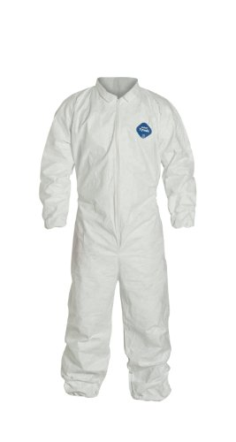 DuPont Tyvek 400 TY125S Disposable Protective Coverall with Elastic Cuffs, White, 2X-Large (Pack of 25)