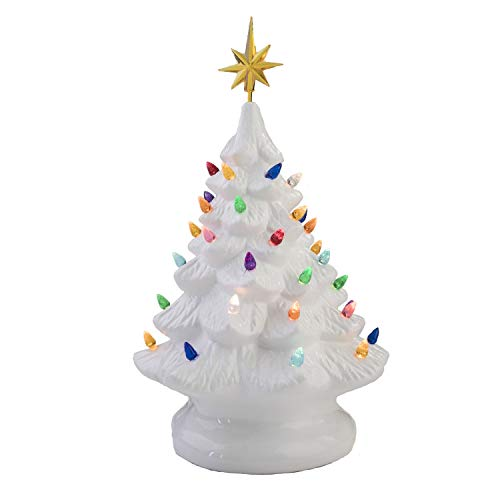 14' Retro Prelit Ceramic Tabletop Christmas Tree With 52 Multicolored Lights (White)