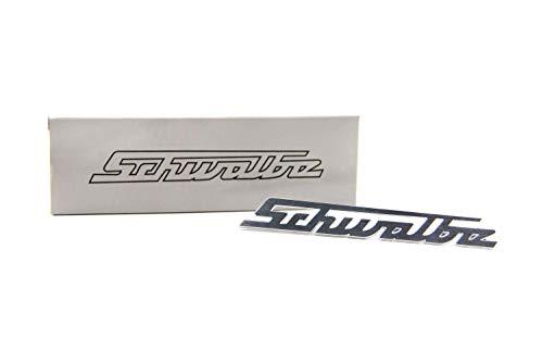 Simson Schwalbe Schriftzug - Aluminium Silber - für Beinschild - Knieschutzblech - BADGE CLIP