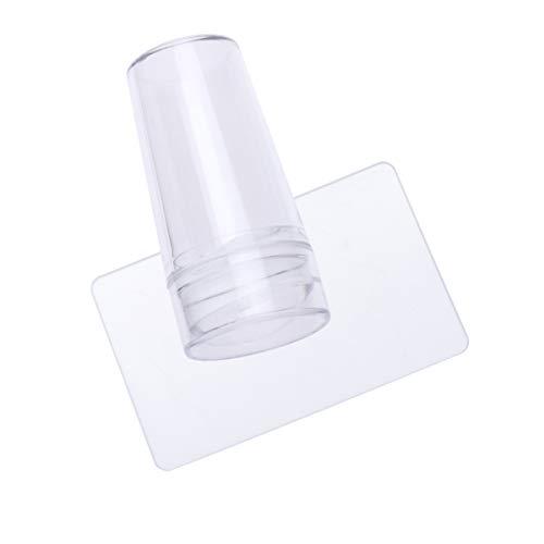 Beaupretty Tampons à Ongles en Silicone Transparent Nail Art Stamper Scraper Nail Stamping avec Capuchon pour Outil D'impression de Manucure DIY (Transparent)