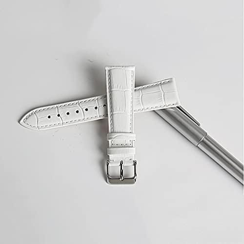 LQGSYT Correas de Reloj de Moda Correa de Reloj de Cuero Genuino Rosa 12mm-22mm para Mujer Correa de Reloj para Pulsera de Reloj (Color : White, Size : 20mm)