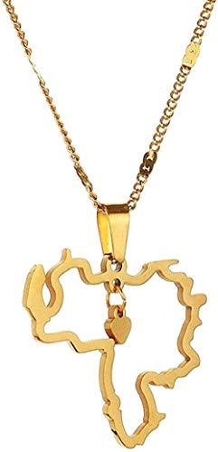 WYDSFWL Halskette Edelstahl Trendige Mexiko Karte Anhänger Halskette Gold Farbe Karten Kettenblätter Geschenk