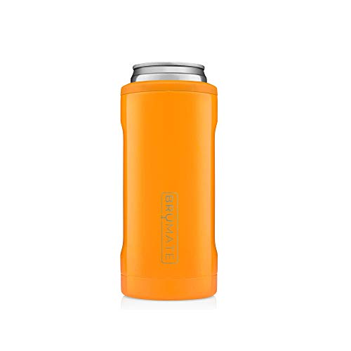 BrüMate Hopsulator Slim Double-walled Stainless Steel Insulated Can Cooler for 12 Oz Slim Cans (Hunter Orange)