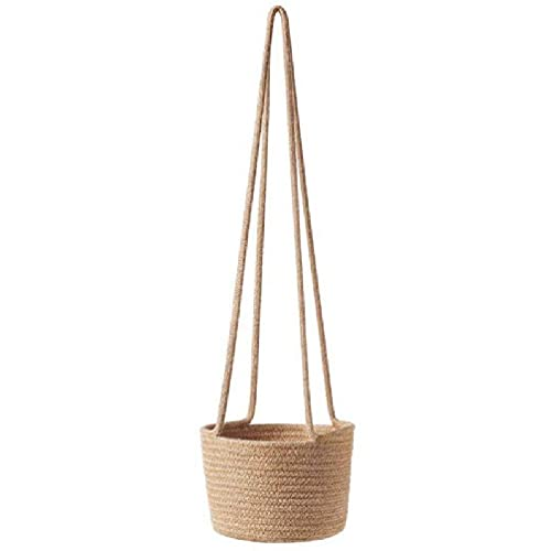AIYIYOO Handwoven Hanging Planter Plant Basket with Jute Cotton Cord Indoor Flower Pot Macrame Storage Organizer Hanging Flower Pots