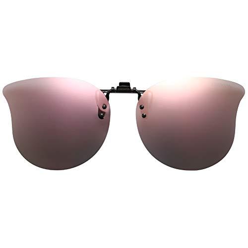 CAXMAN Polarized Cat Eye Clip On Sunglasses Over Prescription Glasses for Women UV Protection Flip Up Pink Mirrored Lens