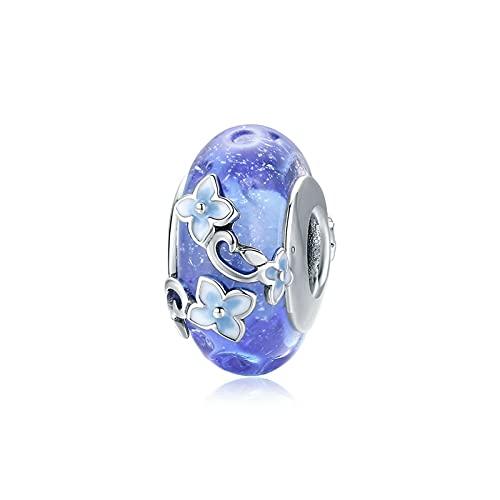 HMMJ S925 Plata esterlina DIY Hecho a Mano jardín Secreto Cuentas de Cristal Azul Cuentas para Pandora/Troll/Chamilia Pulsera BSC390