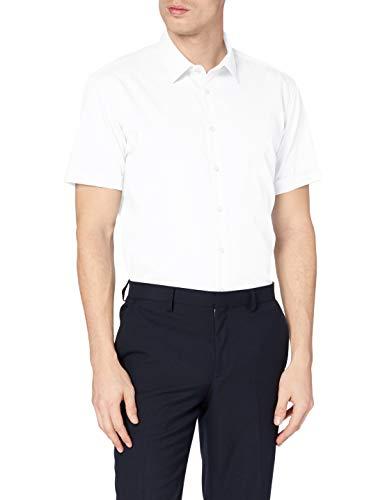 Seidensticker Seidensticker Herren Business Hemd X-Slim Fit - Bügelfreies, sehr schmales Hemd mit Kent-Kragen - Kurzarm - 100% Baumwolle, Weiß (Weiß 1), X-Small (Herstellergröße: 36)