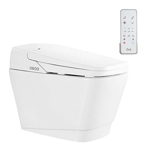 Ove Decors Fran Integrated Smart Toilet Adjustable Heated Seat, Auto Flush, Massage Washing with Multi-Function Remote Control, LED Night Light, Soft Close