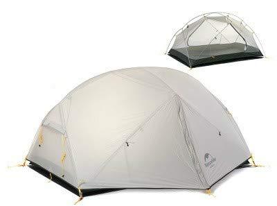 Mdsfe Naturehike Mongar 2 Carpa, Carpa de Camping para 2 Personas Carpas de Camping ultraligeras para Exterior 2 Hombre con vestíbulo - 20D Gris