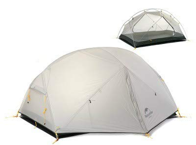Mdsfe Naturehike Mongar 2 Tent, 2 Person Camping Tent Outdoor Ultralight 2 Man Camping Tent With Vestibule - 20D Gray
