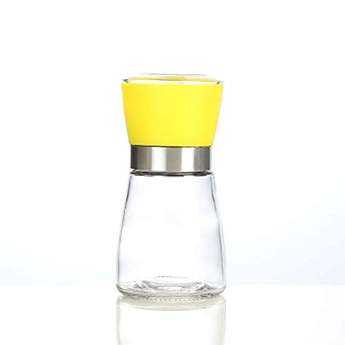 Gouen Manual Grof Zout Zwarte Pepermolen Grinder Universele Glazen Kruiden Cruet Bottle Container Home Kitchen tool, geel