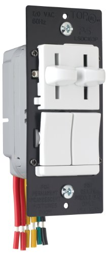 Pass & Seymour, White Legrand LSDC163PWV Dual Control Slide Preset Single Pole Dimmer