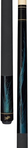 Dufferin Jet Black Pool Cue with Rich Blue Flame, 19.5-Ounce