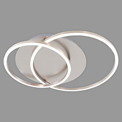 Briloner Leuchten LED Deckenleuchte, Deckenlampe dimmbar, inkl. Memoryfunktion, Drehbar, 3.200 Lumen, Matt-Nickel, Ø 30cm, 40 W