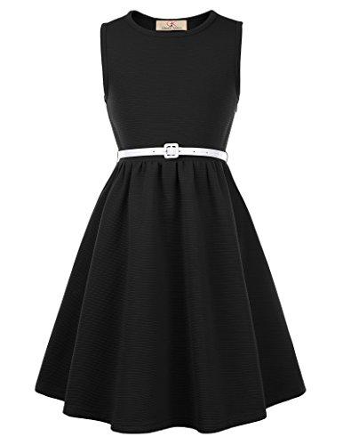 GRACE KARIN Niñas Vestido Negro de Fiesta de Noche Cuello Barco 9~10 Años CL0482-1