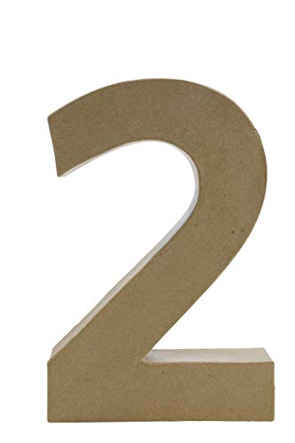 Décopatch AC422O Zahl 2 Fantasie aus Pappmaché, 5 x 20 x 30 cm, zum Verzieren, Kartonbraun