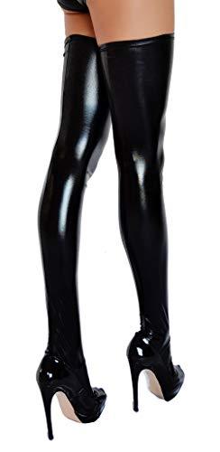 Calcetines altos con aspecto Wetlook negro L (Ropa)