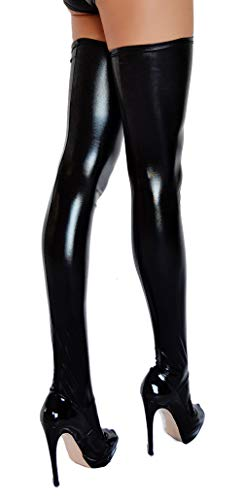 Calcetines altos con aspecto Wetlook negro L (Ropa)