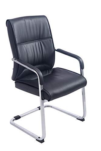 CLP XXL-Freischwinger Anubis mit Kunstlederbezug und gepolsterter Sitzfläche I Pflegeleichter Konferenzstuhl mit Armlehne, Farbe:schwarz