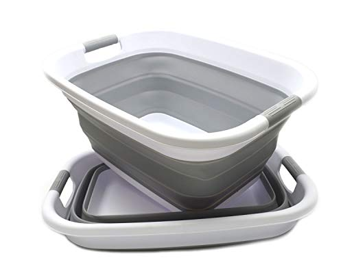 SAMMART Set of 2 Collapsible Plastic Laundry Basket - Foldable Pop Up Storage Container/Organizer - Portable Washing Tub - Space Saving Hamper/Basket (2, Grey)