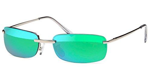 Kaiser-Handel sb05 - Occhiali da sole rettangolari da uomo, con lenti a specchio, cerniera a molla, per spiaggia, vacanze Verde aceo. m