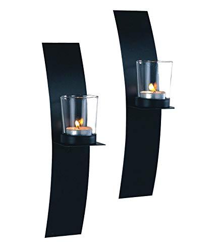 Wandkerzenhalter auf Platte mit Glaseinsätzen für Teelichter, 2-er Set