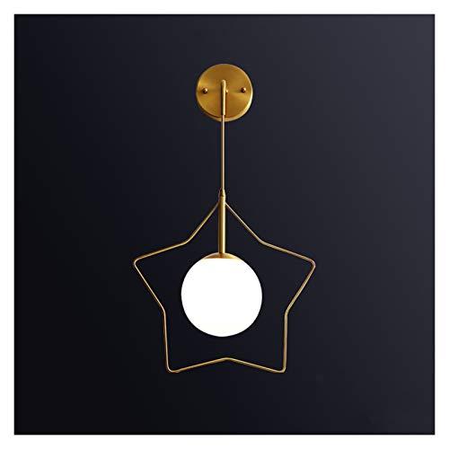 Apliques de Pared Lámpara de pared de la sala de estar creativa con vidrio redondo Lámpara de cama de dormitorio Alámbrico de la cama de la pared de cobre Lámparas de montaje en pared simple Escalera