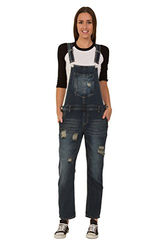Crazy Lover Distressed Rip denim broek - indigoblauw overalls voor dames denim jean mode WOMDE03