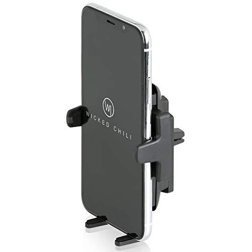 Wicked Chili Auto Halterung kompatibel mit iPhone SE 2 (2020), 11 Pro, XS, X, 8, 7, SE KFZ Handy und Smartphone Lüfterhalterung Autohalterung (Case Friendly bis 7,6cm Breite, Made in Germany) schwarz