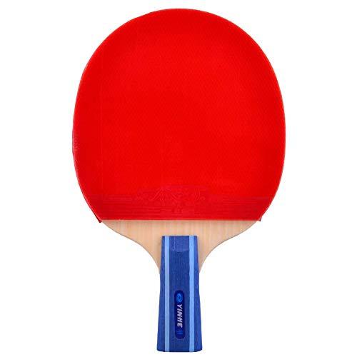 Lerten Raquetas de Tenis de Mesa,7 Capas de Madera Pura 7 Estrellas Bate de Tenis de Mesa Profesional Mango CóModo,para Actividades Familiares Club Deportivo/A/Mango corto
