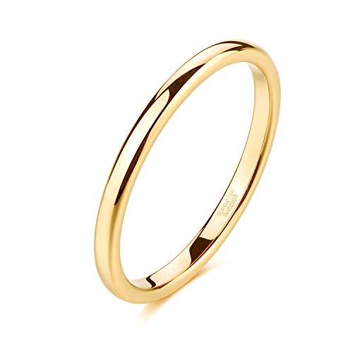 Shuremaster 2mm Gold Tungsten Rings for Women Plain Thin High Polish Engagement Wedding Band Size 11.5