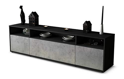 Stil.Zeit TV Schrank Lowboard BIANCA, Korpus in Anthrazit Matt/Front in morderner Beton Optik (180x49x35cm), mit Push-to-Open Technik, Made in Germany