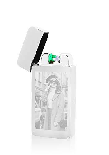 TESLA Lighter T10 Lichtbogen Feuerzeug mit Photosensor, Plasma Double-Arc, elektronisch wiederaufladbar, aufladbar mit Strom per USB, mit Fotogravur, mit Ladekabel, in edler Geschenkverpackung Silber