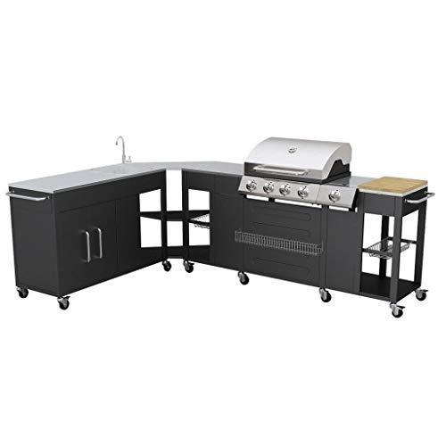 Festnight Barbecue Griglia a Gas Montana con Ruote, Cucina Portabile con 4 Bruciatori e Lavello