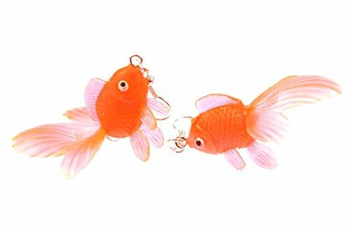 Miniblings Goldfisch Ohrringe Kampffisch Fisch Aquarium Fische Koi neonorange - Handmade Modeschmuck I Ohrhänger Ohrschmuck versilbert