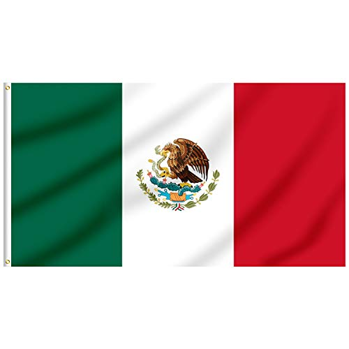 FLAGBURG Mexico Flag 5x8 FT, Mexican Flag with Print Vivid Color and UV Fade Resistant, Canvas Header and Double Stitched,Outdoors Indoor Light-Weight Flags with Brass Grommets