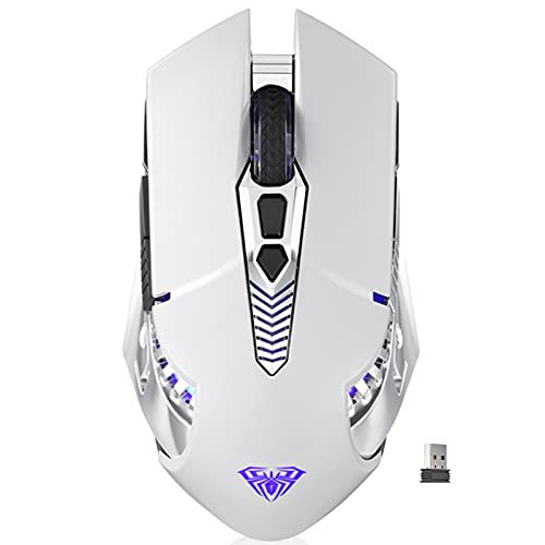 AULA SC200 White Wireless Bluetooth Mouse Rechargeable, with LED Backlight, Side Buttons, USB Receiver Ergonomic Optical Gaming Mice for PC, MAC Laptop/Notebook/Desktop/Tablet/Cellphone Games & Work