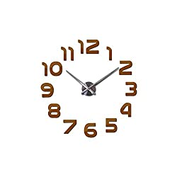 Asteria-Ashley 3D Wall Clock Large Acrylic Mirror Clocks Stickers Living Room Accessories Decorative House Clock On The Wall,Chocolate,27 Inch