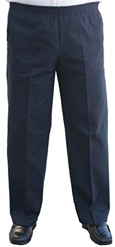 The Senior Shop Men's Full Elastic Waist, No Zipper, Buttons or Loops, Pull On Twill Casual Pant (L/30-Navy)