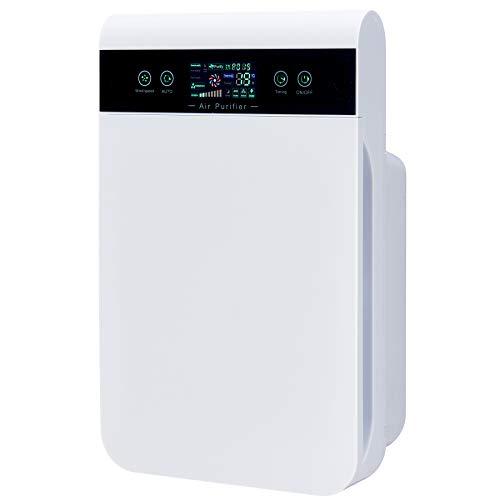 VONLUCE Purificador de Aire con Filtro HEPA para Hogar y Oficina Purificador de Aire Silencioso de Carbón Activado y Luz UV Limpiador de Aire para Eliminar Bacterias, Polvo y Humo (CADR 210M3)