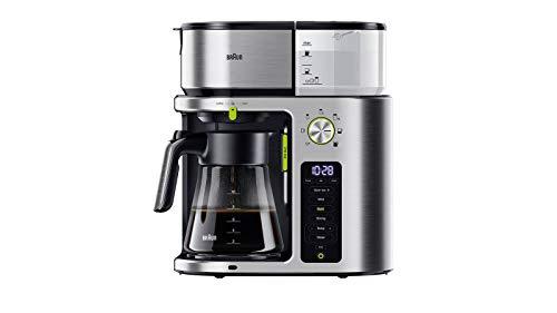 Braun MultiServe Kaffeemaschine KF 9170 Filterkaffeemaschine mit Direktwahl von 7 Portionsgrößen, inkl. Teefunktion und Glaskanne, Touch Display und Zeitschaltuhr, 1750 Watt, Edelstahl