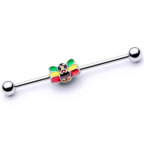 Body Candy Womens 14G 316L Steel Helix Cartilage Earring Holiday Rasta Turkey Industrial Barbell 1 1/2