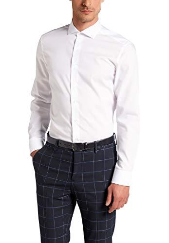 eterna Langarm Hemd Slim FIT Popeline unifarben, Weiß, W40 Langarm