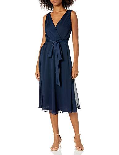 Chaps Women's Georgette Fit-and-Flare Dress, Mediterranean Midnight, 8