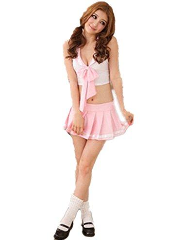 Shawa Negligee Sexy Pink, School-Girl Kostüm Sexy Schulgirl/Schulmädchen Uniform Cosplay, Rosa, Einheitsgröße