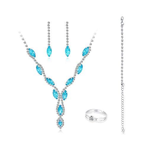 Accesorios de joyería, 4 unidades/conjunto de moda para mujer con diamantes de imitación, collar, anillo, pulsera y pendientes de regalo – A